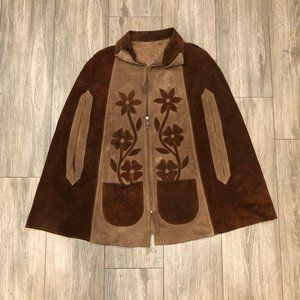 Vintage Suede Cape Unisex Leather Floral Design Po